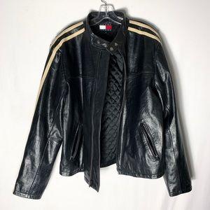 Tommy Hilfiger Black Leather Bomber Jacket